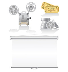 set cinema icons vector image