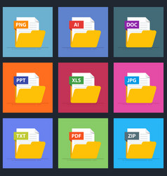 set of documents in an open folder icons for vector image vector image