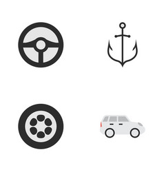 Set of simple transportation icons elements wheel vector