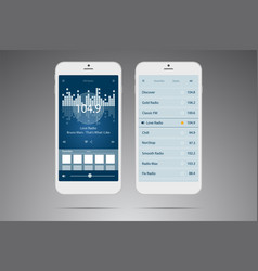 User interface mobile application radio online vector