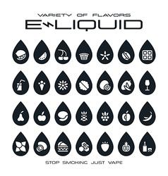 Vape shop e liquid flavors icons set vector