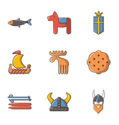 viking icons set cartoon style vector image