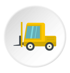 Yellow stacker loader icon circle vector