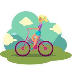 young pretty blond woman girl riding pink bicycle vector image vector image