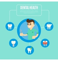 Dental health banner with male dentist vector