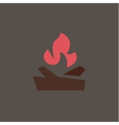 Fiery fire with wood in the camp qualitatively vector