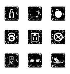 Fitness icons set grunge style vector