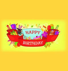 happy birthday horizontal banner cartoon style vector image