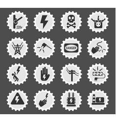 High voltage icon set vector