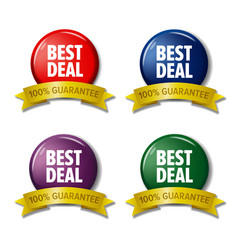 Set of colored labels best deal discount tags vector