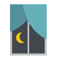 night view from a window icon isolated vector image