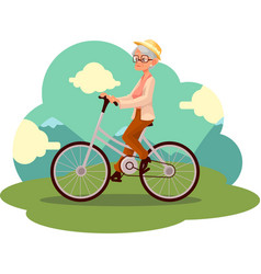 Stylish elder woman old lady riding a bicycle vector