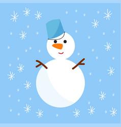 snowman cold christmas season winter white man in vector image
