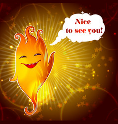 Cartoon funny smiling fire monster template vector