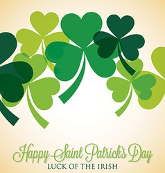Overlapping shamrock st patricks day card in vector