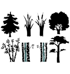 Set of silhouettes of plants vector
