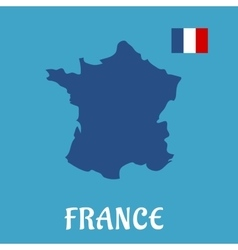 Map and flag of france flat icons vector