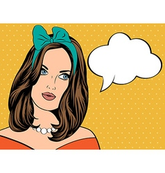 Pop art of woman with the speech bubble vector