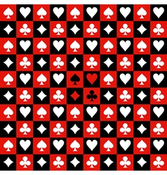 Card suit chess board red black background vector