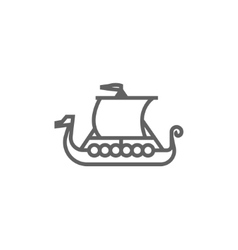 Old ship line icon vector