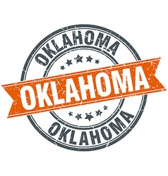 Oklahoma red round grunge vintage ribbon stamp vector