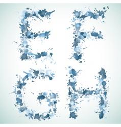 Alphabet water drop efgh vector image vector image