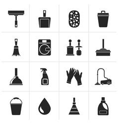 Black cleaning and hygiene icons vector