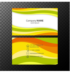 Businesscard template with orange and green wavy vector