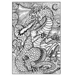 dragon engraved fantasy vector image