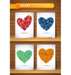 Ecology love leaf heart set nature rainbow vector