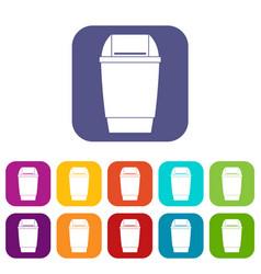 Flip lid bin icons set flat vector