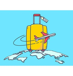 Flying air plane around suitcase vector
