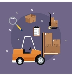 forklift truck cardboard boxes icons delivery vector image