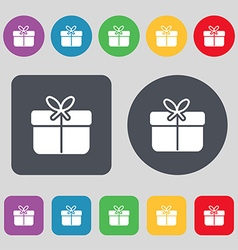 Gift box icon sign a set of 12 colored buttons vector