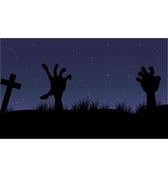 Halloween hand zombie of silhouette vector image vector image