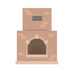 Home fireplace traditional oven vector