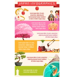 Japan Culture Infographic Retro Cartoon Poster vector image