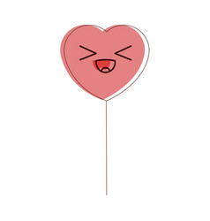 Kawaii heart balloon party decoration for event vector