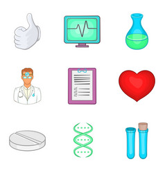 Medical center icons set cartoon style vector