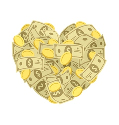 Money heart vector