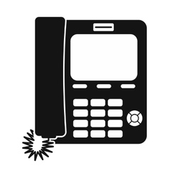 Office phone black simple icon vector