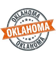 Oklahoma red round grunge vintage ribbon stamp vector