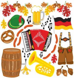 Oktoberfest party clipart elements vector image vector image