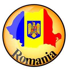 Orange button with the image maps of romania vector