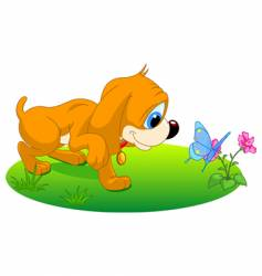 puppy playing vector image