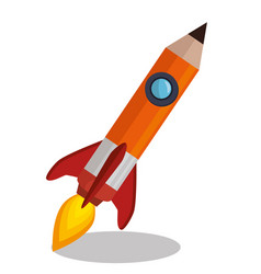 rocket pencil isolated icon vector image