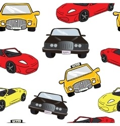 Seamless background collorful cartoon cars vector
