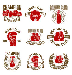 set of boxing club emblems boxing gloves vector image