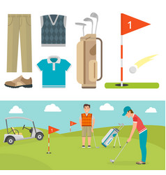 set of stylized golf icons hobby equipment vector image