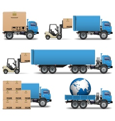 Shipment trucks icons set 2 vector